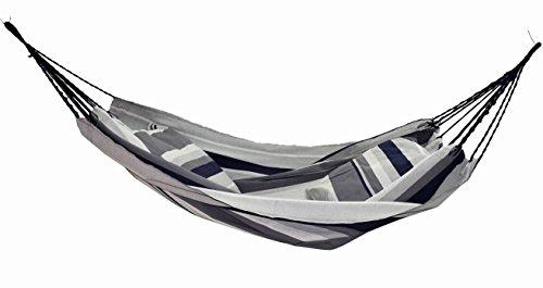 Hängematte für Kinder - Baumwollgewebe - Doppelseil - maximal 80 kg - Grau und Marineblau