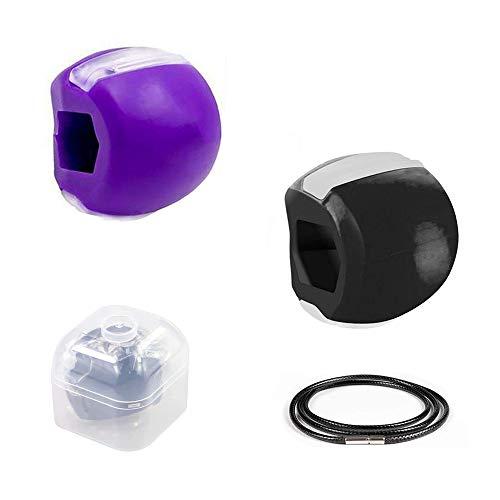 SUNSK Bolas para Ejercitar la Mandíbula Ejercitador de Mandíbula Masticable Tonificador Facial Mandibula Ejercicio 2 Piezas (morado, negro)