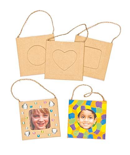 Baker Ross Mini cadres de photo à décorer et suspendre (Lot de 12)- Idéal comme cadeau à offrir E7573 Marron