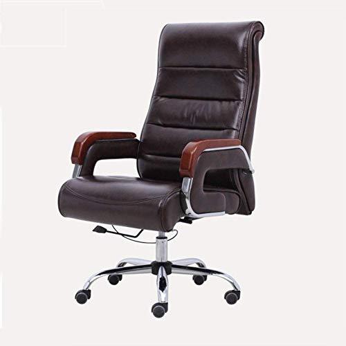 Executive Recline bureaustoel, Executive antieke stijl PU leer verstelbare Rolling High Back Computer Bureau Reclining gevoerde bureaustoel
