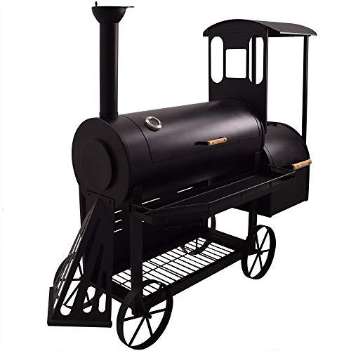Syntrox Germany Smoker S-2 Lok de Luxe Barbecue BBQ Grill Räucherofen Holzkohlegrill Grillwagen
