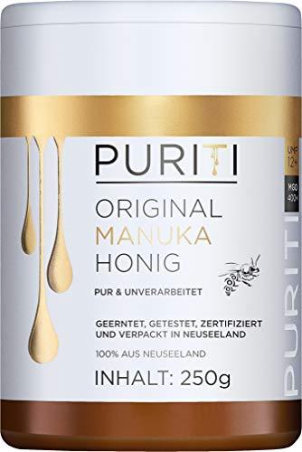 PURITI Manuka Honing MGO 400+ 250g uit Nieuw-Zeeland - gecertificeerd, laboratorium getest, zuiver natuurproduct, vrij van additieven, premium kwaliteit