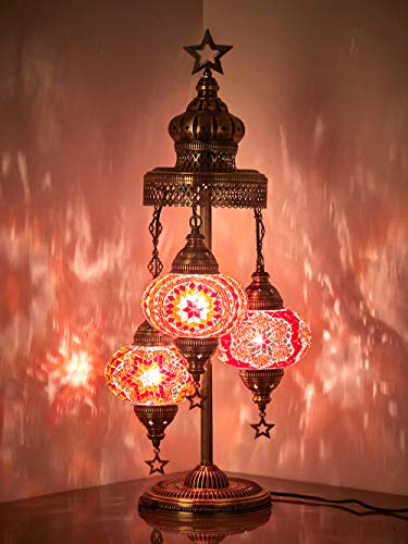 (16 Colors) Demmex 2019-3 Big Globes Magnificent Handmade Turkish Moroccan Mosaic Tiffany Table Desk Bedside Lamp Lampshade Night Accent Mood Light for North American Use, 31' Height (Red Mix)