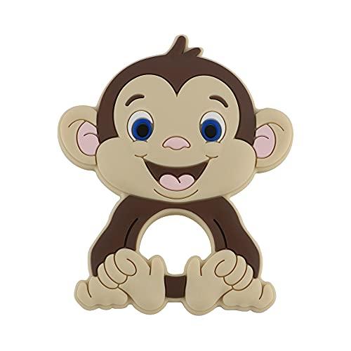 YMJTLTU 1 mordedor de silicona con diseño de mono de dibujos animados de animales de grado alimenticio, colgantes de silicona para chupete y cadena de accesorios(color: 1 pieza Navajo blanco)