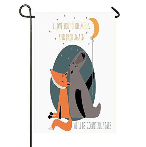 hongwei Home Garden Flag 12.5 'x 18 Inch Size Banner de casa Doble Cara Holiday Seasonal Decorativo Negro Welcome Bear and Fox in Love Valentines Counting Night Stars Animal Print