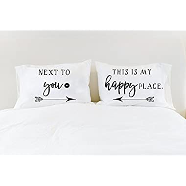 Happy Place His and Hers Pillowcases Couples Pillowcases Next to You This is My Happy Place Unique Wedding Gift for Couple Engagement Gift