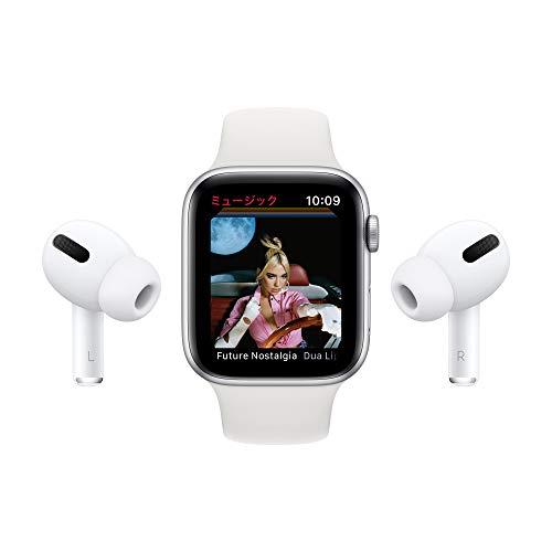 最新AppleWatchSE(GPSモデル)-44mmシルバーアルミニウムケースとホワイトスポーツバンド