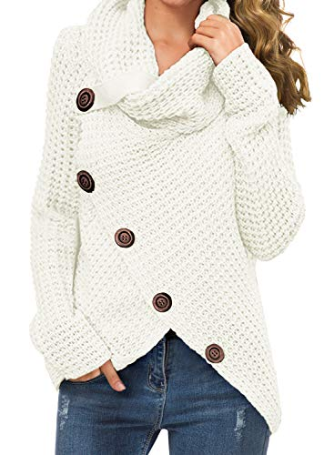 GRECERELLE Women's Solid Color Chunky Button Pullover Sweater Turtle Cowl Neck Asymmetric Hem Knit Sweater White-Large