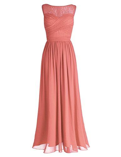 iEFiEL Damen Abendkleider elegant Hochzeitskleid Cocktailkleid Chiffon Festlich Festkleid Langes Brautjungfernkleid 34-46 Koralle 42