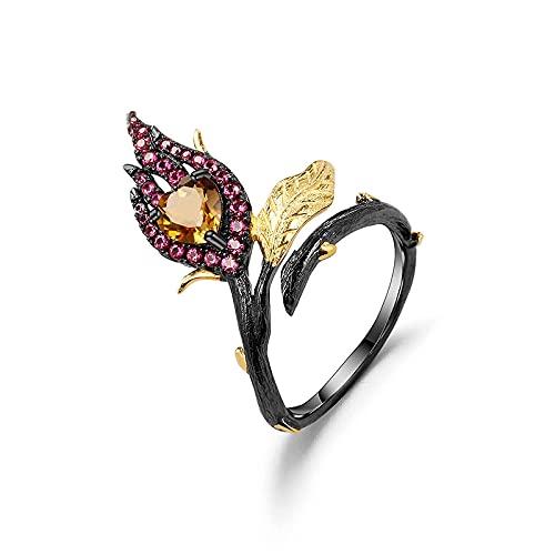Oro 18 kilates sobre plata 925 Corazón bicolor hecho a mano, enamorado del amor Anillo ajustable de citrino natural para mujer