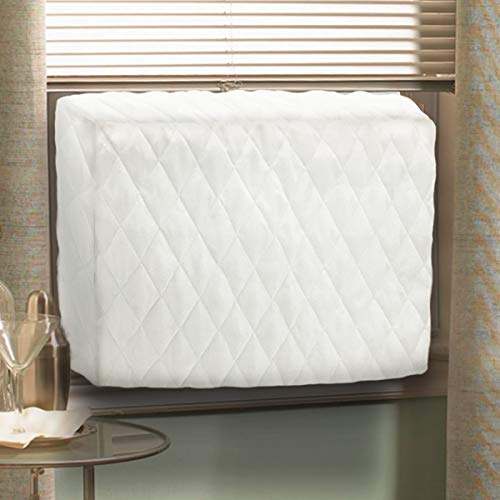 Air Jade Window Indoor Air Conditioner Cover, White Quilted Double Insulation Covers for Window AC Units (Large- 28'' x20'' x 4'')
