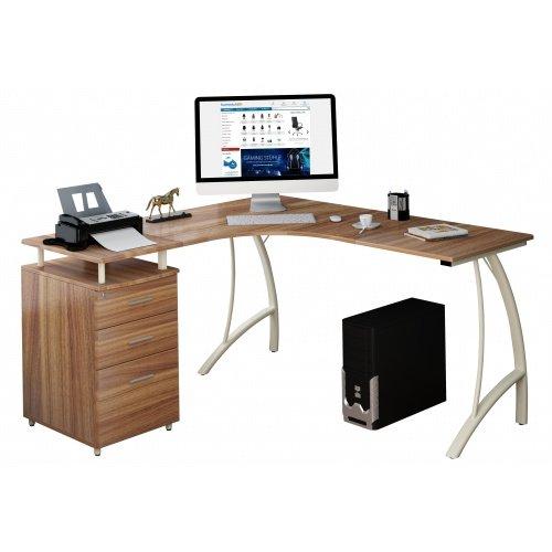 hjh OFFICE Computer-Eck-Schreibtisch Castor nussbaum elfenbeiin mit Standcontainer, 151/143 x 76 x 55 cm, Drucker-Podest, robust gefertigt, einfacher Aufbau, PC-Workstation 673420