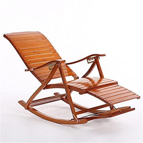 Patio Silla de salón, cómodo Relájese Bambú Silla mecedora con diseño de pie de descanso Muebles de sala de estar Muebles de salón for adultos Reclinación reclinable for reclinable / al aire libre Cha