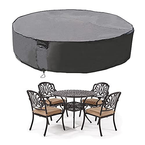 """MH M&H Patio Furniture Covers for Round Table and Chairs, Outdoor Furniture Covers Waterproof with Handles and Durable Hem Cord, Fit Large Round Furniture Set, 600D UV Resistant Fabric, 96"""" Dia Taupe"""