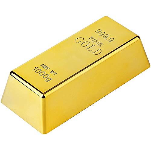 POFET Tope de puerta de lingotes de oro falso, pisapapeles para decoración del hogar, oficina, peso de aproximadamente 200 g.