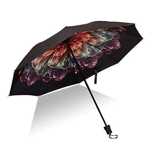 Mdsfe Paraguas Hombre lloviendo Mujer a Prueba de Viento Gran impresión de Flores en 3D Soleado Anti-Sol 3 Paraguas Plegable al Aire Libre - como imagen14, a2