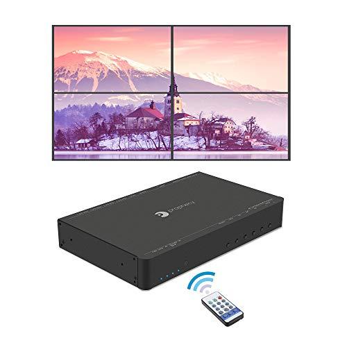 gofanco Prophecy 4K HDMI 2x2 Video Wall Controller & Processor – Up to 4K/60Hz YUV 4:4:4, 1x HDMI or mDP 1.2 Input with Bezel Correction, Cascading (Supports 2x2, 1x3, 3x1, 1x4, 4x1, 3x3, 4x4)