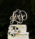 Losuya Tortenaufsatz 'Love' aus Holz für Hochzeitstorte, Verlobung, Dekoration