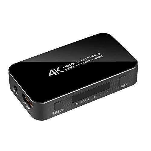 LYY 4K HDMI 2.0 Switcher, Switch Splitter 4 en 1 de 4K 60Hz HDR HDMI Switcher HDCP 2.2 Control Remoto Adecuado para PS4 Pro DVD, Xbox