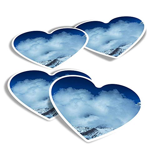 Vinyl Heart Stickers (Set of 4) - Mount Everest Fun Decals for Laptops,Tablets,Luggage,Scrap Booking,Fridges #14265