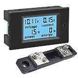 KETOTEK Medidor de Voltaje Amperaje Potencia Energia Electrica Digital de Panel 4 en 1, Voltimetro Amperimetro DC 6.5-100V 100A 12V Volt Amp Multimetro LCD con 50A/75mV Shunt