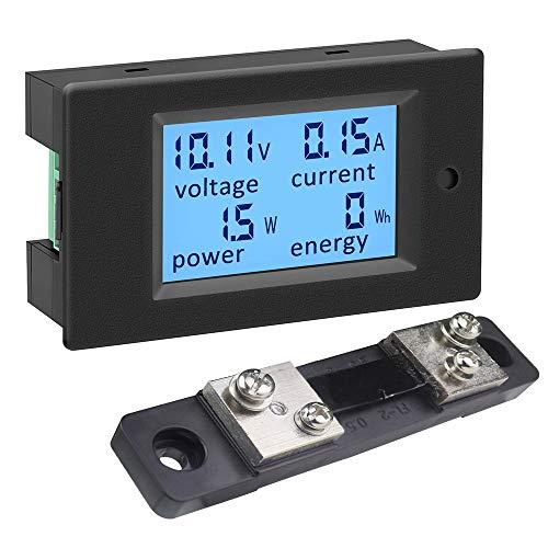 KETOTEK Misuratore di Tensione Corrente Potenza Energia 4 in 1 Digitale, Voltometro Amperometro DC 12V 6.5-100V 100A Volt Amp Watt Metro LCD con Shunt 50A/75mV