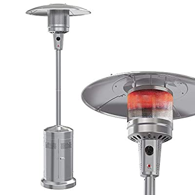 Leisure Stay Gas Patio Heater with Wheels?48,000 BTU of Outdoor heaters for Patio Propane for Commercial and Household Use?Stainless Steel Outdoor Propane Heater,with CSA Certified for Garden