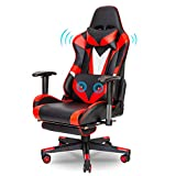 Red Ergonomic Massage Gaming Chair Video PC Chair Racing Reclining Gaming Computer Chair with Footrest High Back Executive Office Desk Chair PU Leather Adjustable Swivel Task Chair