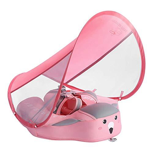 Feste nicht aufblasbare Schwimmer Schwimmring Taille Schwimmring Schwimmring Pool Spielzeug Schwimmtrainer Sonnenschirm mit Sonnenschutz-Rosa