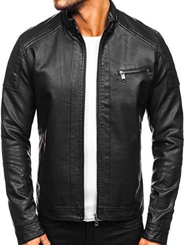 BOLF Herren Lederjakce Biker Jacket Kunstleder Ökoleder Motorrad Jacke Casual Elegant Casual Style JUSTBOY 88903 Schwarz L [4D4]