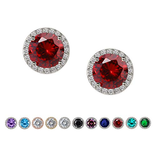 SWEETV Hypoallergenic Stud Earrings for Women-10mm Round Cubic Zirconia Ear Studs- Silver Plated Jewelry Gifts for Women & Girls,Ruby