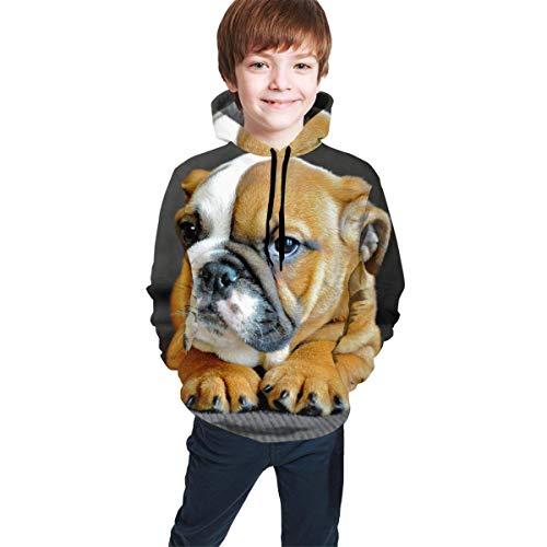 Kinder Langarm-Kapuzenpullover mit Kapuze Sweatshirts Slim Fit Trainingsanzüge Gr. S, Große englische Bulldogge