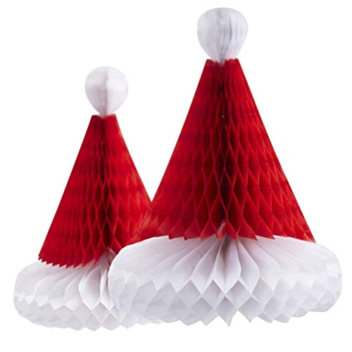 BinaryABC Christmas Centerpiece Decoration,Christmas Hanging Decoration Ornament,Honeycomb Santa Hat,Tissue Paper