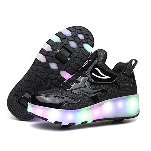 WOFEI Unisex Mujeres Led Luz De Zapatillas Skate con 2 Ruedas Zapatos Patines Deportes Zapatos para Niños Niñas,31
