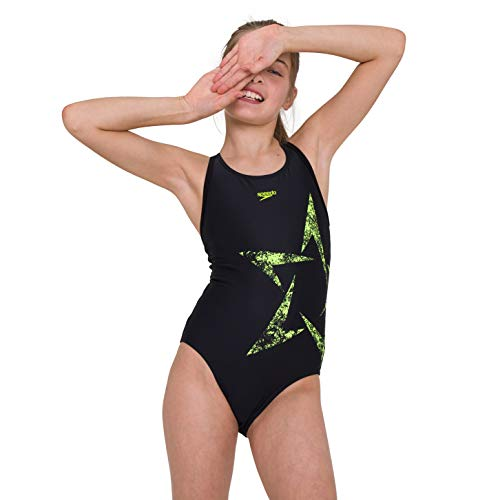 Speedo Girls' Boomstar Placement Flyback Swimsuit, Black/Fluo Yellow, 34 (15-16 YRS)