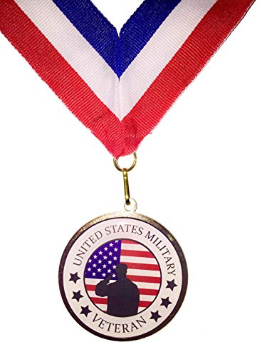 Veteran Medallion for United States Military with Ribbon, Solider Salute Against American Flag Background