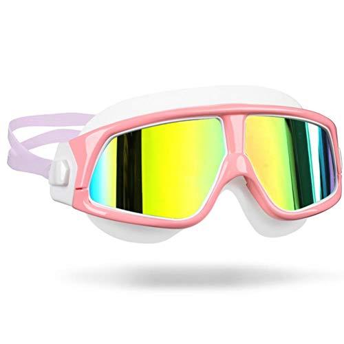 UKKD Gafas de natación Gafas De Natación para Hombres Gafas para Mujer Anti-Niebla Anti-UV Marco Grande Adulto Gafas De Natación De Silicona Impermeables
