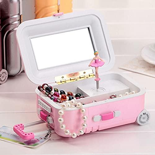VastSea Caja de música estilo maleta caja de almacenamiento de joyería giratoria bailarina chica para niños juguetes regalo