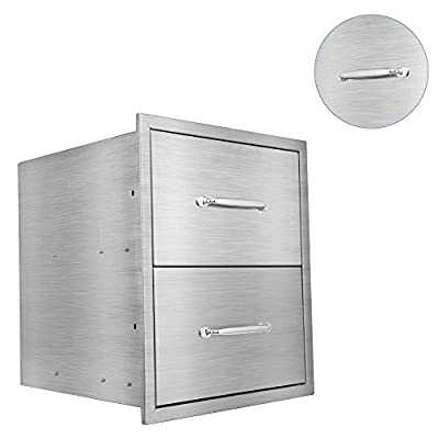 Karpevta BBQ Drawers Outdoor Kitchen Drawer W18XD18XH21 Inches BBQ Drawer - Stainless Steel Double Drawers for Outdoor Kitchen Grilling Station or Commercial BBQ Island with Handle