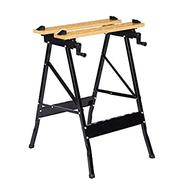 Multi-Purpose Folding Workbench and Vice, Portable Work Table Sawhorse with Quick Clamp, Pegs and Tool Holders for Carpenter Builder DIY Enthusiast, 331 lbs Capacity, Black