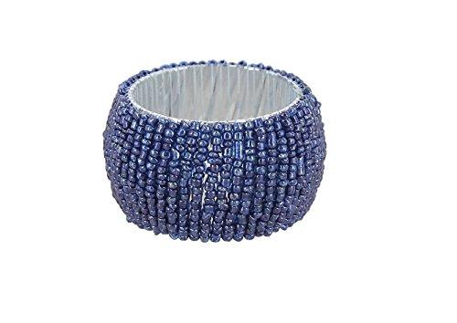Shalinindia Beaded Napkin Rings - Set of 6 Rings -Blue Napkin Rings Set -Diameter-1.5 Inch