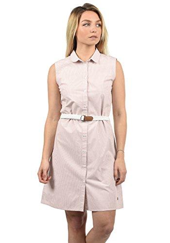 DESIRES Drew Damen Blusenkleid Lange Bluse Kleid Mit Nadelstreifen Aus 100% Baumwolle Knielang, Größe:S, Farbe:Mahog. Rose (4203)