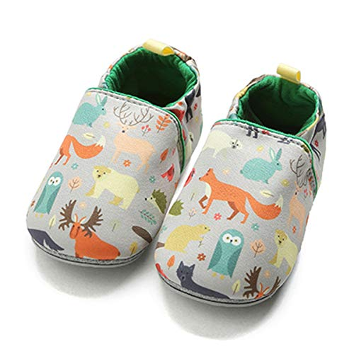 COSANKIM Infant Baby Boys Girls Slipper Soft Sole Non Skid Sneaker Moccasins Toddler First Walker Cirb House Shoes, 9-12 Months Infant, 01 Fox