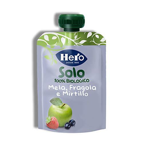 Hero Solo Pouch Frutta Frullata 100% Bio Mela, Fragola e Mirtillo, senza Zuccheri Aggiunti, Conservanti e Coloranti, senza Glutine, dai 4 Mesi in su - Pack da 18 Confezioni X 100 G