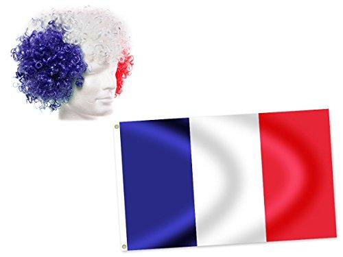 Alsino FP-33: 2 accessoires, vlag Frankrijk en pruik, blauw, wit, rood, cadeau-idee voor heren, dames, meisjes, sexy, voetbal, stadion, animatie, avond, sport