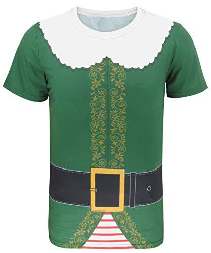 COSAVOROCK T-Shirts Costume da Natale Elfo Uomo (L, Verde-1)