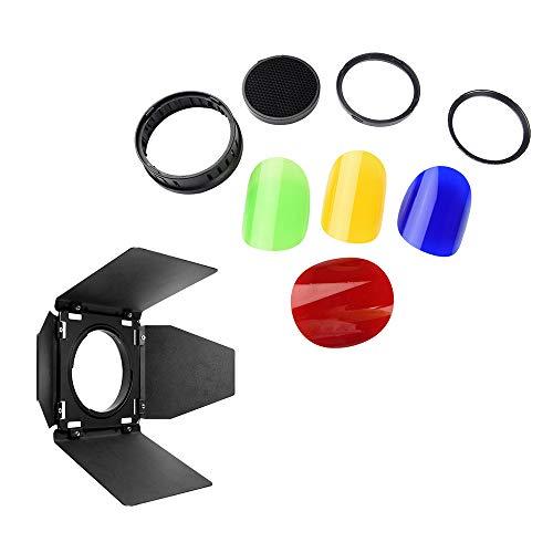 Juego de filtros de Gel para Puertas de Granero y Rejillas de Nido de Abeja y 4 Colores (Rojo, Azul, Verde y Verde) Compatible con luz estroboscópica de Flash Compatible con Exteriores Godox