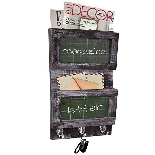 Organizador rústico de madera para colgar en la pared para correo,llavero,ganchos para colgar correas,perchero,almacenamiento de cartas de periódicos,estante para decoración rústica del hogar pizarra