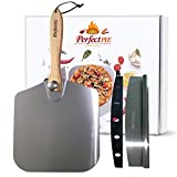 "The Perfect Pie Pizza Peel Aluminum Metal Pizza Paddle 12"" x 14"" with Foldable Wooden Handle and 14"" Rocker Cutter with Cover - Easy Storage Pizza Spatula for Baking and Slicing Homemade Pizza Bread"