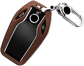 ontto Leather Smart Display Key Fob Cover Protector Case Keyless fit for BMW 7 Series (Brown)